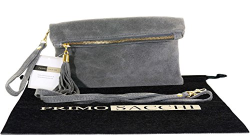 italian-suede-leather-dark-grey-clutch-wrist-or-shoulder-bag-includes-a-protective-dust-bag