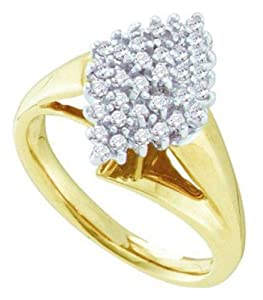 Pricegems 10K Yellow Gold Ladies Round Brilliant Diamond Cluster Set Ring (1/4 cttw, H-I Color, I1/I2 Clarity, Ring Size: 5)