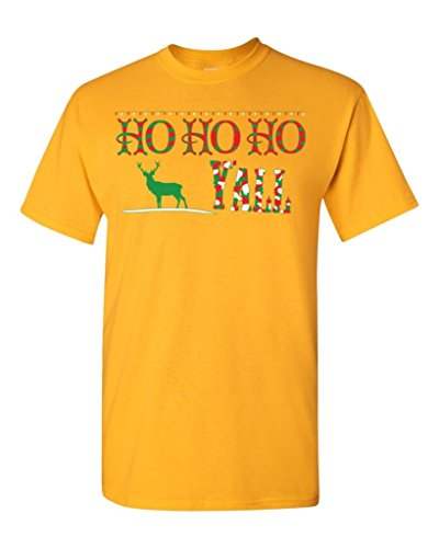 Ho Ho Ho Y'All Christmas T-Shirt #17507 Funny Xmas Shirts Small Gold