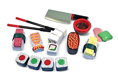 Melissa & Doug 12608 Wooden Sushi Slicing Playset