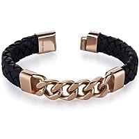 Revoni Mens Black Woven Leather Rose Gold Plated Steel Bracelet by Revoni