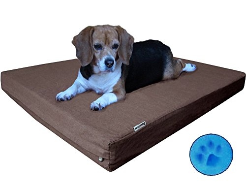Durable Orthopedic Waterproof Medium Large Memory Foam Pet Dog Bed With Brown Denim Cover + Free Bonus Case