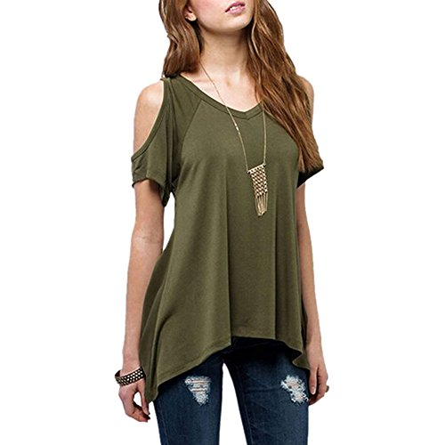 women 39 s casual off shoulder short sleeve flowy tunic tops