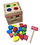 KUENTAI 積み木 知育玩具 立体パズル 木製 パズルボックス トンカチ 大工 (17ピース)