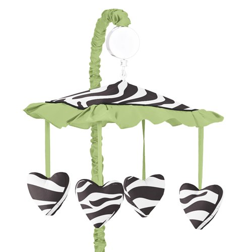 Lime Funky Zebra Musical Baby Girls Crib Mobile By Sweet Jojo Designs front-224268