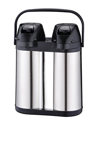 Coox 4L Double Air Pot Thermal Beverage Dispenser for Hot & Cold Drinks - Convenient Unbreakable Dual Capacity Stainless Steel Design (Steel Drink Dispenser compare prices)