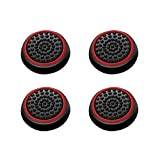Insten [2 Pair / 4 Pcs] Silicone Analog Thumb Grip Stick Cover, Game Remote Joystick Cap for PS4 Dualshock 4/ PS3 Dualshock 3/ PS2 Dualshock/ Xbox One Wireless/ Xbox 360 Controllers, Black/Red