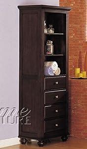 Bathroom Tall Storage Cabinet Walnut Finish