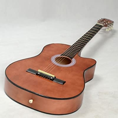 Fast shipping + Free tracking number , Beginner 38 Inch Cutaway Folk Acoustic Guitar Brown with String Pick Guitars...