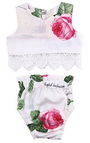 Princess Baby Girl Lace Flower Tops+Bottoms Briefs PP Pants Outfits Set Sunsuit (6-12 Months, Color 2)