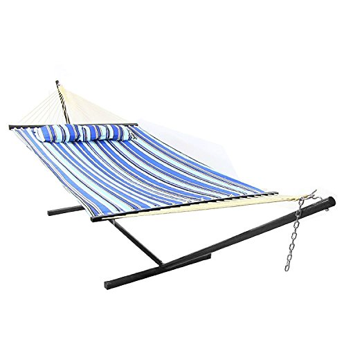 Sunnydaze QFH-CB-COMBO-M Catalina Beach Quilted Double Fabric Hammock with Spreader & Stand