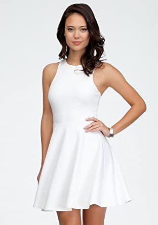 bebe Ponte Fit &Flare Dress Spcl Events/eve Dresses White-xs at Amazon