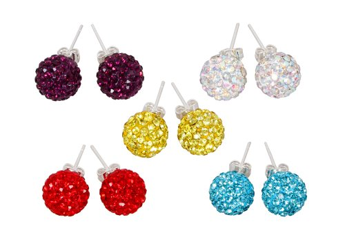Bundle Monster 5pc Sparkling Multicolor Shamballa Crystal 10 mm Cubic Zirconia Studs Earring Mixed Lot- Set A