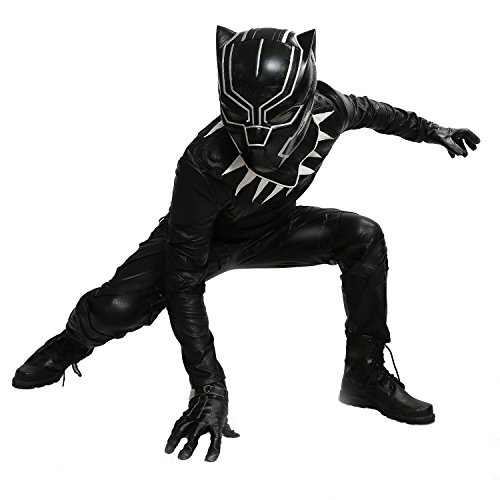 XCOSER Black Panther Costume Outfit for Men Halloween Cosplay PU Leather