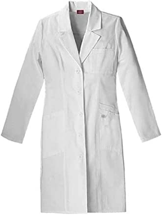Dickies Medical Scrubs 82401 Women's Jr Fit EDS Pro. Whites 37-inch Lab Coat White X-Small