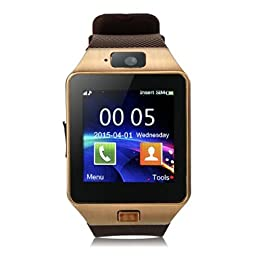 Padgene Bluetooth Smart Watch with Camera for Smartphones - Gold
