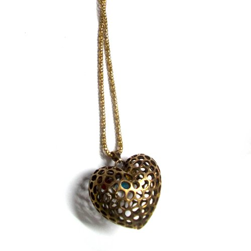 Styonal Styonal Chunky-Funky Bronze Heart Shaped Hollow Fashion Pendant For Women (Brown)