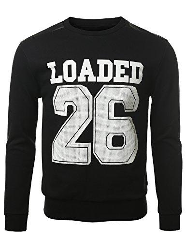 Urbancrews Mens Hipster Hip Hop Loaded 26 Sweatshirt Pullover Black Xxlarge