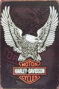 "Harley-davidson Motorcycles Logo, Metal Tin Sign, Vintage Style Wall Ornament Coffee & Bar Decor, Size 8"" X 12"""