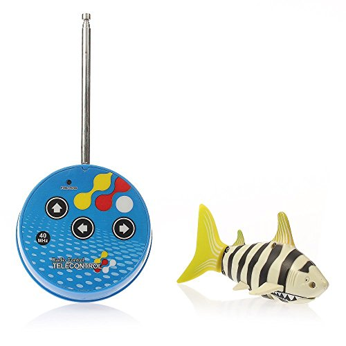 eSmart Rc Radio Remote Control Mini Electrical Shark Fish Kids Water Game Toy Children Gift (Black White Stripes)