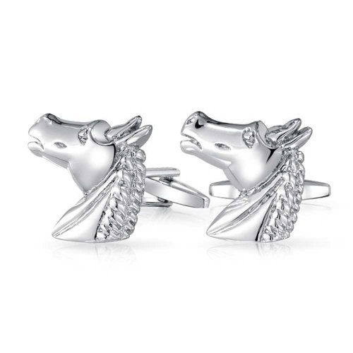 Bling-Jewelry-Gift-Rhodium-Plated-Mens-Equestrian-Animal-Horse-Cufflinks
