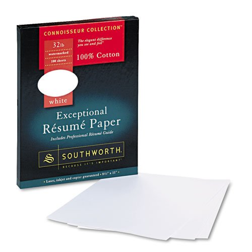 Southworth - 100% Cotton Resume Paper, White, 32 Lbs., 8-1/2 X 11, Wove, 100/Box Rd18Cf (Dmi Bx