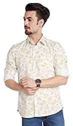 PARX Men's Casual Shirt (8907253847708_XMSS05536-Y2_39_Light Yellow)