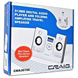Craig CMA3015C 512MB USB MP3 Digital Music Player & Portable Foldable Speakers -Amplify Sound From A 3.5mm Audio Source!