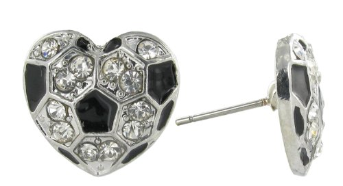 Love Soccer Rhinestone Stud Earrings - Heart