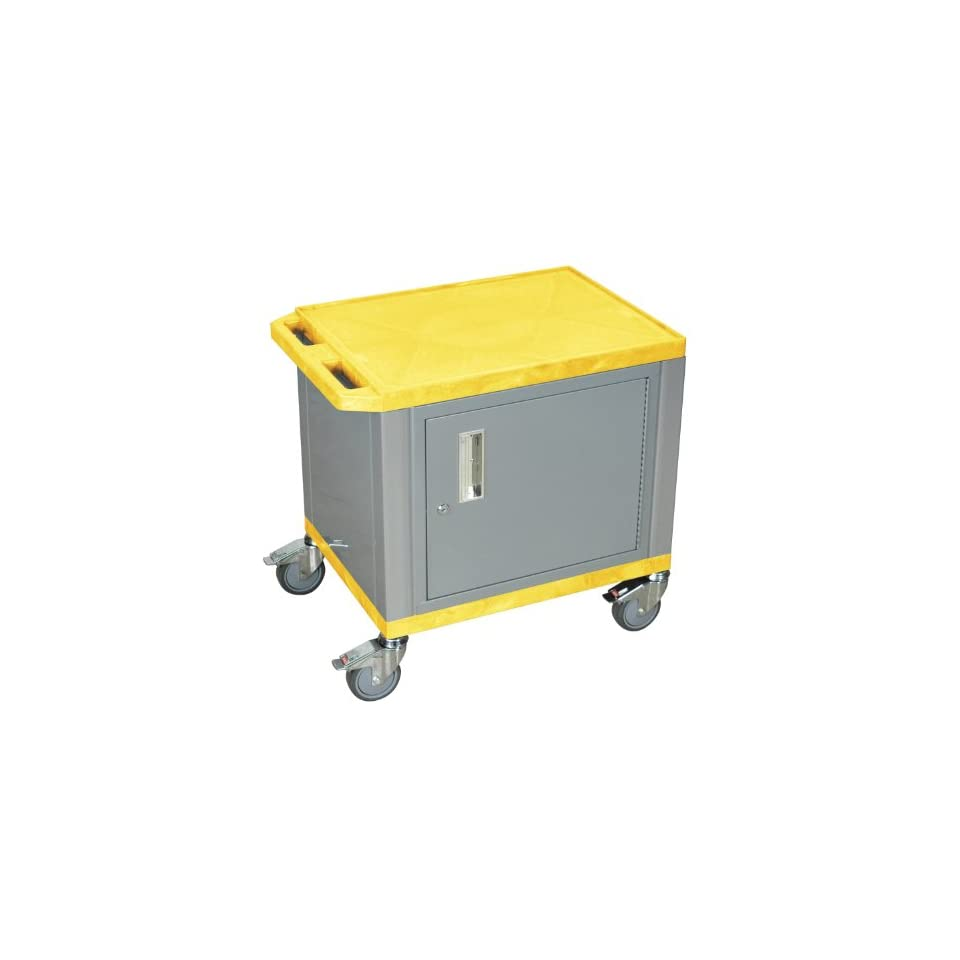 Utility Cart With Chrome Casters And Locking Cabinet Yellow and Nickel
