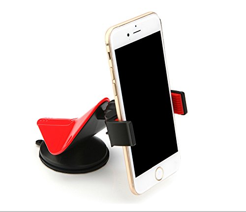 Rihan® Universal Cell Phone Vehicle Car Windshield Mount Holder Cradle Stand for Smartphones Up to 9cm Wide [Supports iPhone ,Samsung Galaxy and Most of the Smartphones Which is Under 6.5 Inches](red)