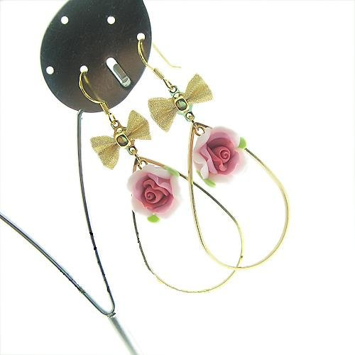 Bautiful Butterfly Knot 925 Sliver Polymer Clay Flower Earrings