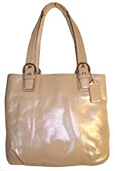 Authentic Coach Soho Metallic Leather North South Tote Bag 17216 Champagne