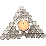 Unique Arts Beautiful Flat Triangle Shaped Crystal Tea Light Candle Diya Holder - CTL308