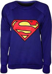 Papermoon - 'Superman' Imprimé Comique Pullover Top Avec Manches Longues - Bleu - 36-38