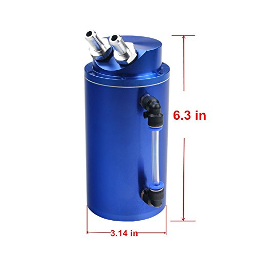 Dewhel Universal Cylindrical Jdm 750ml Aluminum Engine Oil Catch Can Reservoir Tank Blue
