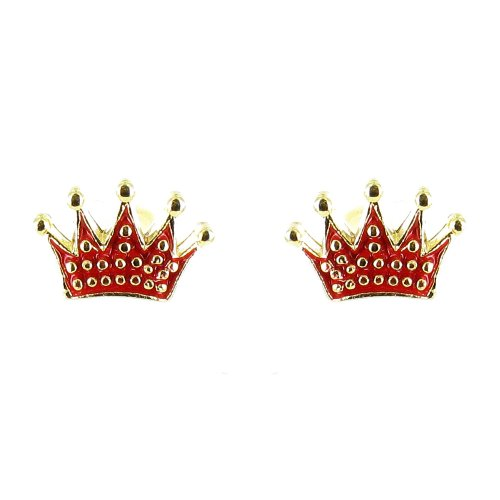 Red On Gold Plated Small Crown Symbol Earrings front-964446