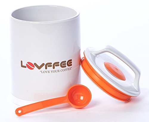 Lovffee White Ceramic Premium Coffee Canister With Coffee Scoop Holds 1 Pound Whole Coffee