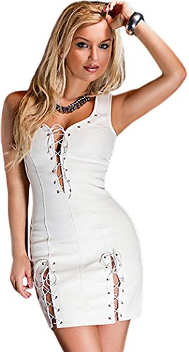 FQHOME Womens Lace Up Detail Fleece Lining Leather Dress White