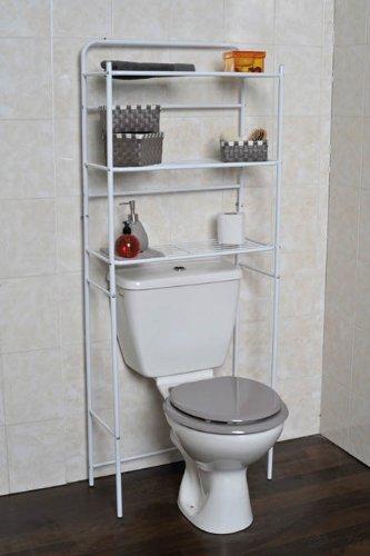mobiletto in metallo angolare : EUR 20,95 Mobile da toilette WC in metallo bianco con 3 ripiani .