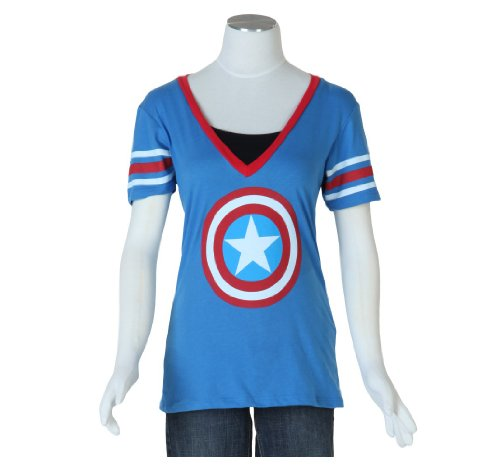 Mighty Fine Womens Captain America Logo T-Shirt Blue
