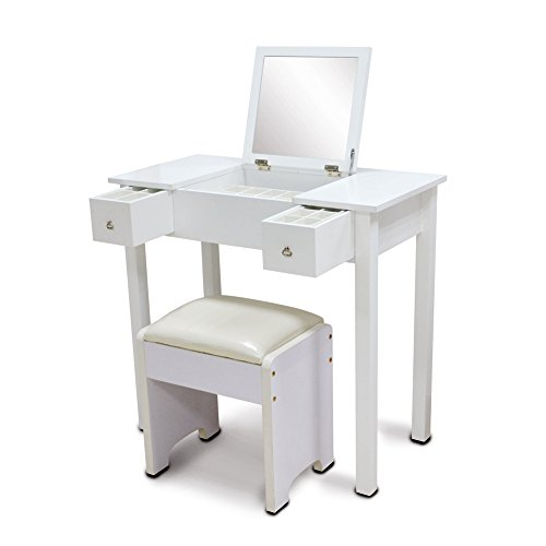 Organizedlife white vanity sets with stool mirror dressing for Dressing table cabinet