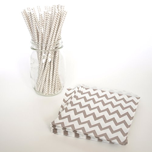 Chevron Goodie Bags, Gray Straws, Silver Candy Bags, Shake Straws, 2 Combo Party Supply Kit - Silver Chevron front-990556