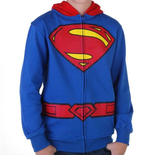 Superman Costume Sweatshirt Hoodie - Toddler & Kids Youth Size With Cape