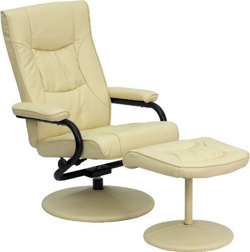 Flash Furniture BT-7862-CREAM-GG Contemporary Cream Leather Recliner/Ottoman with Wrapped Base