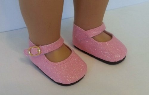 Pink Sparkle Glitter Mary Janes Shoes for American Girl & Other 18 Inch Dolls