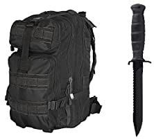"buy Glock 81 Black Field Knife 6.5"" Length Carbon Steel Blade With Saw Spine Polymer Handle Clip Point With Sheath + Ultimate Arms Gear Assault Backpack Bug Out Bag Transport Molle"