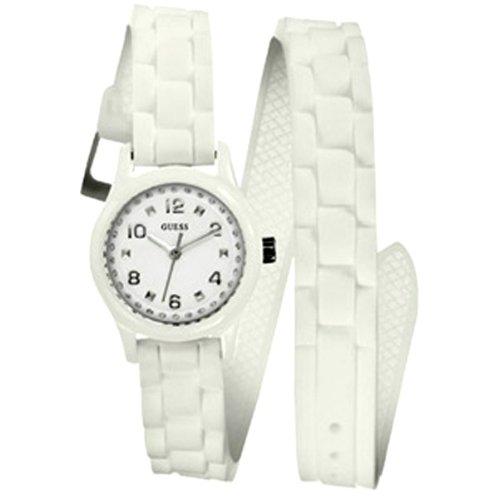 Guess W65023L1 - Reloj analógico de cuarzo para mujer con correa de caucho, color blanco