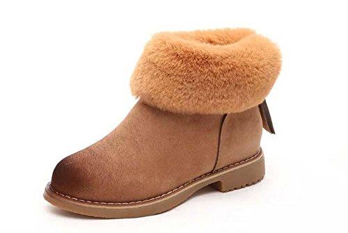 SHIXR Inverno nuova Europa Ladies neve stivali donna, Chao fan in Inghilterra coniglio pelliccia e lana-isolato stivali tondo testa, spesso e corto stivali , khaki , 39