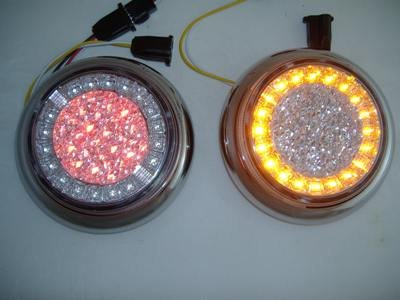 Euro Red Amber Led Combo Multi-Function Round Stop Turn Brake Tail Lights